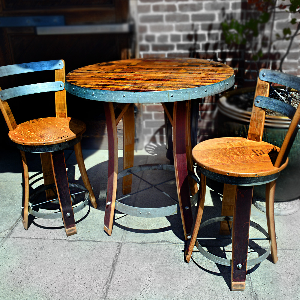 Tables Chairs For Sale: Wine Barrel Bistro Table With Two Chairs