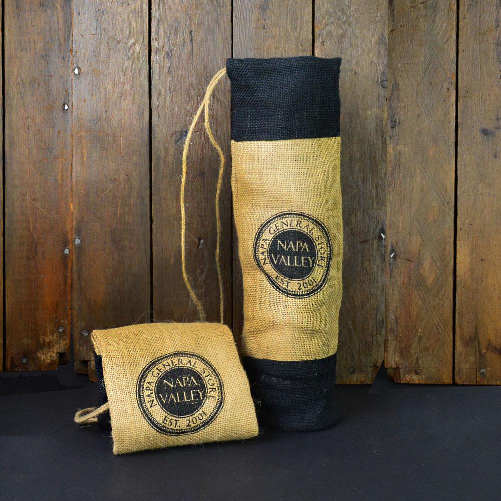 Napa General Logo Burlap Wine Bag Free Shipping