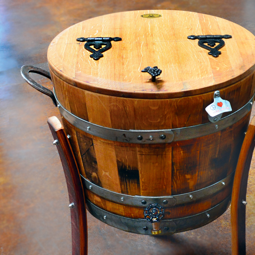 Custom Oak Wine Barrel Cooler 15 Gallon Napa General Store