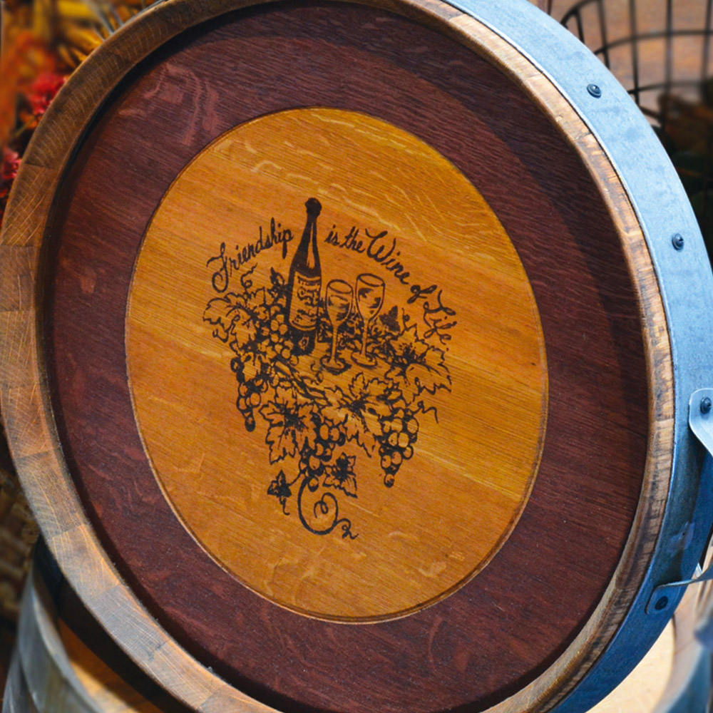 Wine Barrel Top Lazy Susan With Galvanized Metal Handles