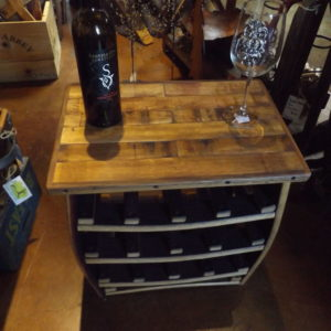Small BARREL STAVE WINE RACK TABLE