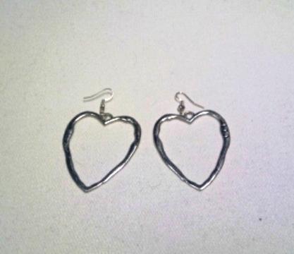 Rhodium Heart Earrings